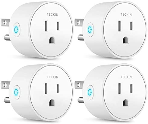 Smart Plug Works with Alexa Google Assistant IFTTT for Voice Control, Teckin Mini Smart Outlet Wifi plug with Timer Function, No Hub Required, White FCC ETL Certified Renewed