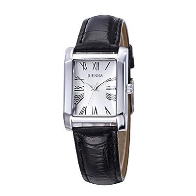 Bienna Fashion Women's Lady Square Dial Quartz Roman Numerals Wrist Watch Stylish PU Leather Watchband