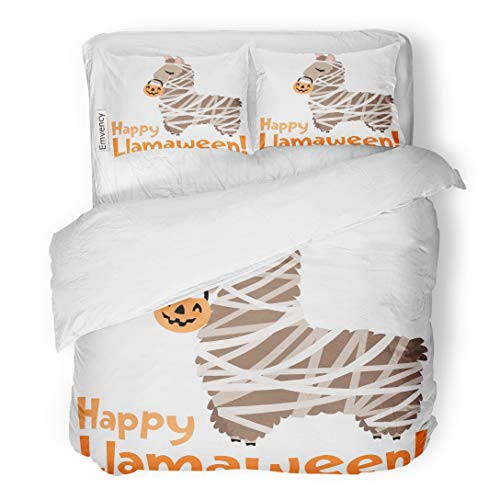Emvency Bedding Duvet Cover Set Orange Spooky Happy Llamaween Llama Mummy Costume Kids Stationary Halloween Accessories and Projects Animal 3 Piece Twin 68