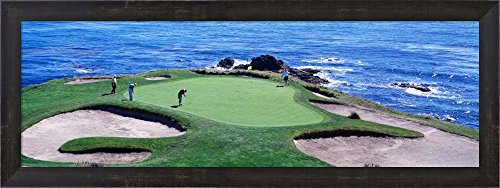 Golfers Pebble Beach, California by Panoramic Images Framed Art Print Wall Picture, Espresso Brown Frame, 30 x 11 inches ()