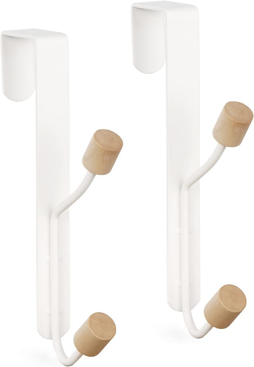 HYMIKO Over The Door Hooks,Shower Door Hooks ,Towel Holder for Bathroom,Door Mount Towel Rack Towel Hooks Fits Door Thickness to 1-3/4 inches for Coats Hats Robes Towels