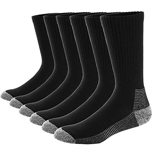 Ueither Men's 6 Packs Moisture Control Performance Cushion Crew Socks