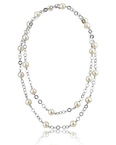 THE PEARL SOURCE 9-10mm Genuine White Freshwater Cultured Pearl Circle Link Necklace for Women
