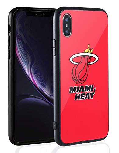Glass Miami Heat - Sportula NBA Phone Case - 9H Tempered Glass Back Cover Silicone Rubber Bumper Frame Compatible Apple iPhone X/iPhone Xs (Miami Heat)