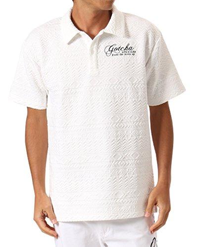 代数的命令的直接(ガッチャ ゴルフ) GOTCHA GOLF ポロシャツ ビックシルエット ジャカード シャツ 173GG1207 ホワイト XLサイズ