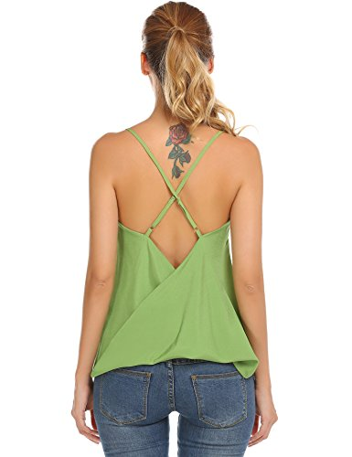 p V Neck Surplice Cami Front Wrap Sleeveless Sexy Tank Top (S, Jade Green) (Green Surplice)