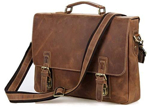 (Vintage Crazy Horse Men's Leather Durable Briefcases, 15
