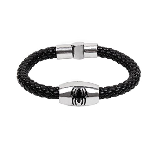 Rocker Costume Diy (Real Spark Mens Fashion Rock Punk Black Woven Leather Spider Metal Pattern Braided Wrap Bracelet)