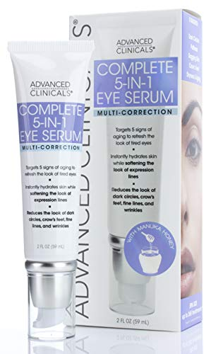 Advanced Clinicals 5-in-1 Multi Correction Anti-Aging Eye Serum w/Retinol, Collagen, Vitamin C, Manuka Honey. For dark circles, wrinkles, crows feet, fine lines. Large 2oz (2oz)