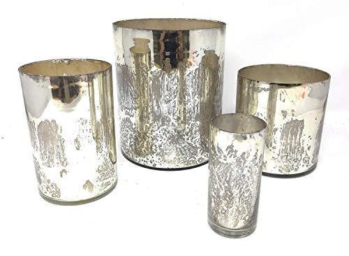 Serene Spaces Living Antique Silver Mercury Glass Cylinders, Handmade Mercury Glass Finish, Set of 9 Silver Cylinders from Serene Spaces Living