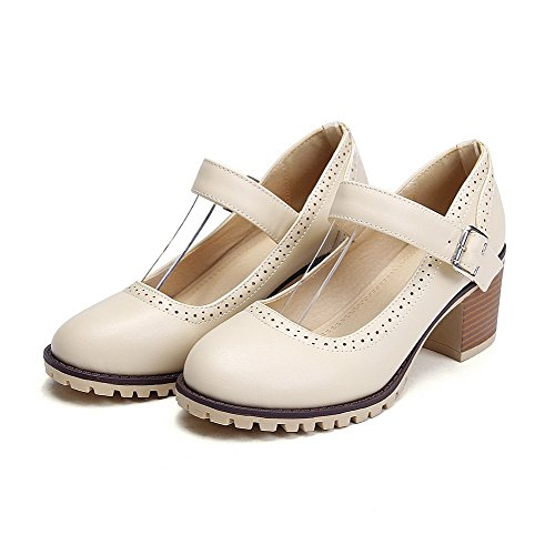 Microfiber Kitten Buckle Pumps WeiPoot Closed Round Shoes Solid Beige Women's Heels Toe xFIwEfq