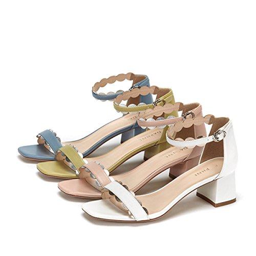 Zapatos Botón Mujer Outlet Verano Sandalias Tacón Grueso De Nuevo nwy80vNOm