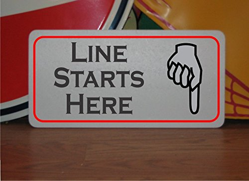 LINE STARTS HERE Vintage Style Metal Sign for Restaurant Shop Store Food Truck Stand Club Movie Bar ()