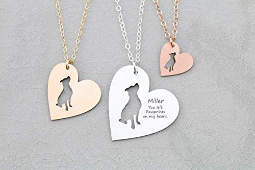 Pitbull Rescue Heart Dog Necklace - IBD - Terrier - Personalize Name Date - Pendant Size Options - 935 Sterling Silver 14K Rose Gold Filled - Fast 1 Day Production