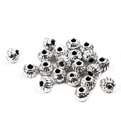 (WEFOO 40 Pcs Antique Silver Corrugated Lantern Spacer Beads Pumpkin Charms Loose Beads with Hole(54mm))
