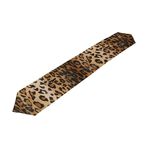Chu warm Table Runner Brown Leopard Home Decor Dresser Scarves Table Cloth Runner Coffee Mat for Wedding Party Banquet Decoration13 x 70 -