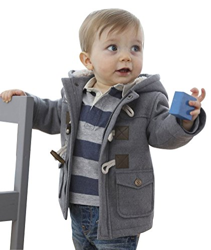 Fairy Wings Baby Boys Toddlers Cotton Blend Hooded Duffle Coat Toggle Coat 18 Months Gray