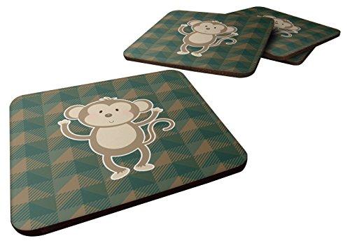 Caroline's Treasures BB7025FC Monkey Foam Coaster Set of 4, 3.5