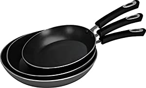 Frying Pan Set - Set of 3 Pieces - Riveted Handles - 8 inches, 9.5 inches, and 11 inches - by Utopia Kitchen