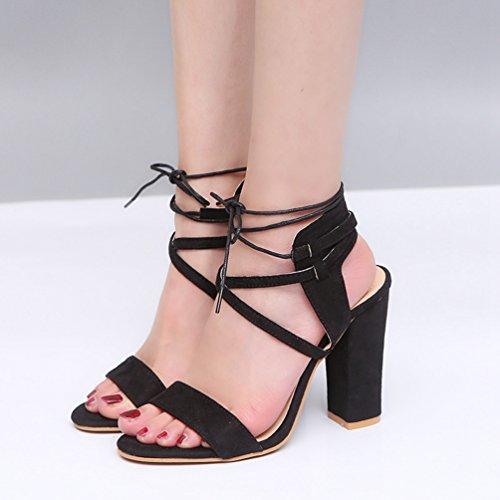 Blocco Ufficio Tacco Estate Peep Scarpe ZKOOO Caviglia Signore Sandalo Club Nero per Alto Toe Cinturino Sandali Donna Vestito xBAxwqf0U