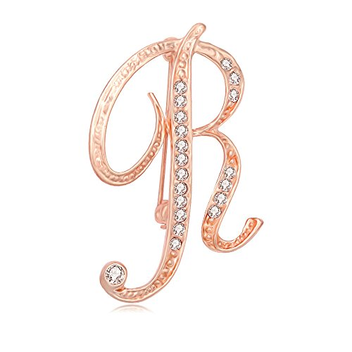 Gold Brooch Rose (SenFai 26 Single Initial Alphabet Letters Personalized Charms Brooch Pin Rose Gold Plated (R2))