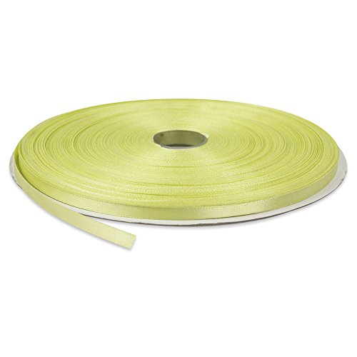 Topenca Supplies ¼-Inch Wide 100-Yards Long Double Face Solid Satin Ribbon Roll, Light Lime Green