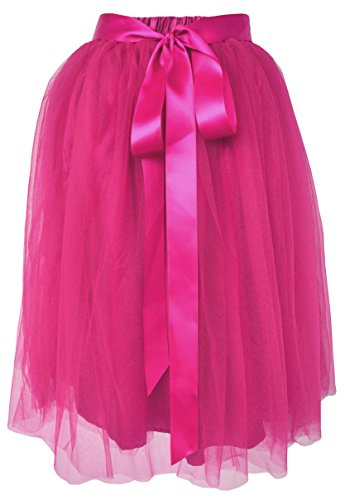 Dancina Women's Knee Length Tutu A Line Layered Tulle Skirt Plus (Size 12-22) Hotpink -