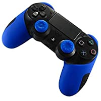 Soft Silicone Rubber Case Cover Silicone Thicker Half Skin Cover For PS4 PRO Slim Controller Console with Thumb Grip X 2