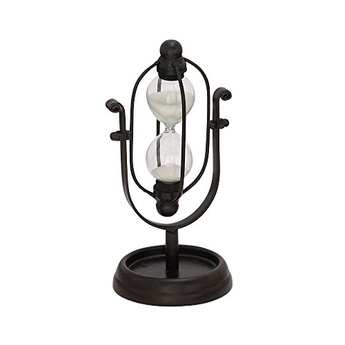 Benzara Deco 79 67754 Metal Glass Min Black Hourglass for sale  Delivered anywhere in Canada