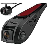 Pruveeo F5-Dual FHD 1080P Dash Cam Front and Rear Dual Camera, 170+90 Degree Wide Angle for Cars with Night Vision