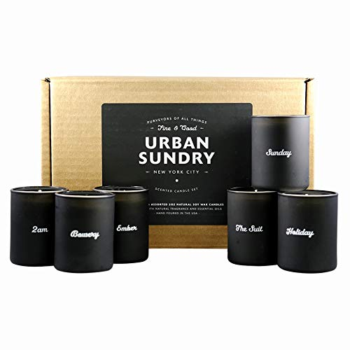 - Urban Sundry Scented Candle Gift Set, 6 x 2 oz, Natural Soy Wax, Assorted Fragrances Infused with Essential Oils, Men and Women, Non-Toxic