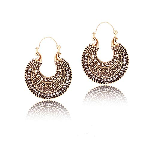 IndoTribe Boho Earrings For Women Fashion Hoops Vintage Retro Tribal Earrings For Women Bohemian Tibetan Gypsy Dangle Indian Bollywood Post Ethnic Antique Gold Earrings For ()