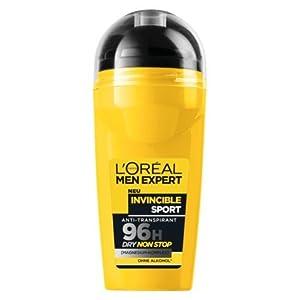 L'Oreal Paris Men's Expert Invincible Sport 96H Dry Non Stop Protection Anti-Transpirant Deodorant Roll on (50 ml)