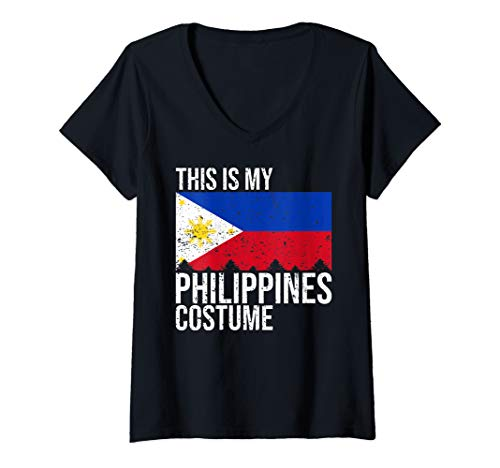 Halloween Costumes Philippines (Womens This is my Philippines Flag Costume design For Halloween V-Neck)