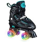 Mongoose Roller Skates for Girls Adjustable with Light Up Wheels Beginner Quad Skates Fun Illuminating for Kids Boys and Girls (Renewed)