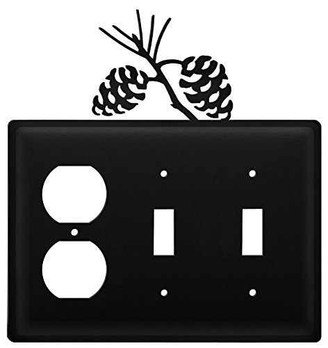 (Wrought Iron Pine Cone Outlet, Double Switch Cover)
