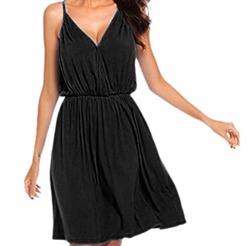 ✔ Hypothesis_X ☎ Women's Party Mini Dress, Solid Sleeveless Casual Dress Summer V Neck Spaghetti Strap Dress Black