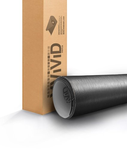VViViD Dark Grey Brushed Titanium Steel 5ft x 6ft Vinyl Wrap Roll with Air Release Technology