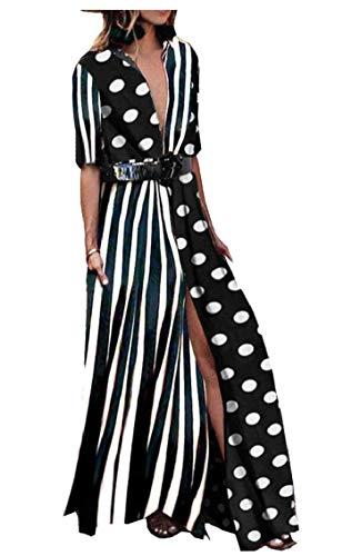 V Sleeve White Split Maxi Half Summer Women's Beach Long Button Jaycargogo Dress Neck qFwIU1t