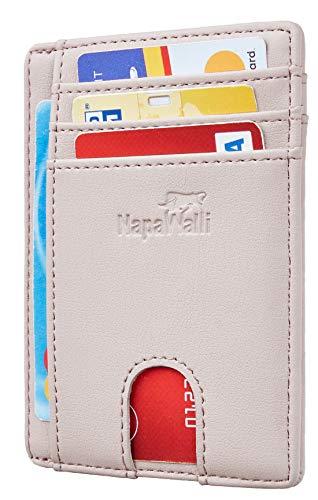 - Toughergun RFID Blocking Minimalist Genuine Leather Slim Front Pocket Wallet U (Alaskia Pink Champagne)