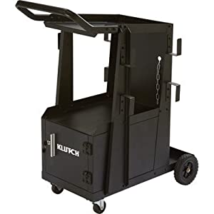 Klutch 2-Tier Welding Cart with Locking Cabinet - 27 1/4in.L x 18 3/4in.W x 35 3/4in.H from Klutch