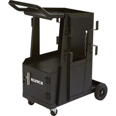 Klutch 2-Tier Welding Cart with Locking Cabinet - 27 1/4in.L