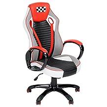 FurnitureR Gaming Executive Desk Chair, Racing Car, Red