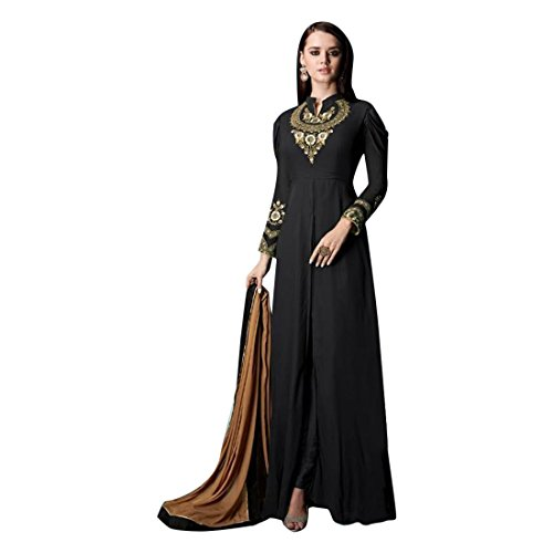Black Stylish Long Dress Gown Kurti Tunic Ready to Wear Salwar Kameez Muslim Women Abaya Festival Rakhi Eid Suit 2853
