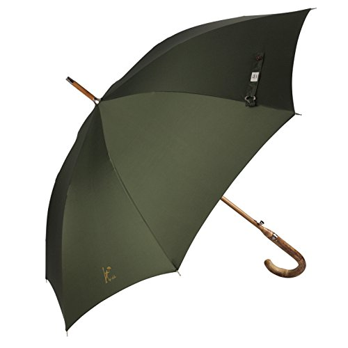Balios Prestige Walking Umbrella, Real Wood Handle & Bamboo Shaft, Auto Open, Windproof Designed in UK (Olive Green) (Spider Black Button)