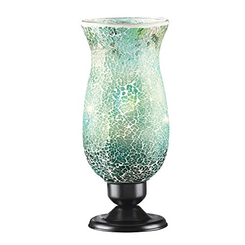 Collections Etc Mosaic Glass Tabletop Accent Lamp with Black Metal Base - Home Décor for Any Room, Green