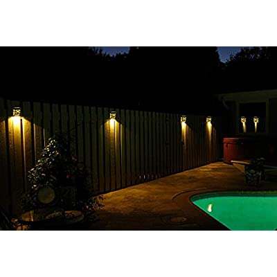 Solar Fence Lights Outdoor Waterproof Solar Wall Lights Decorative for Outdoor Deck Courtyard Landscape Stairs Path Front Door, Pack of 4 (Amber)