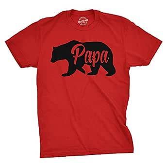 Mens Papa Bear Funny Shirts for Dads Gift Idea Novelty Tees Family T shirt (Red) -3XL