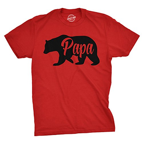 Mens Papa Bear Funny Shirts for Dads Gift Idea Novelty Tees Family T Shirt (Red) - S