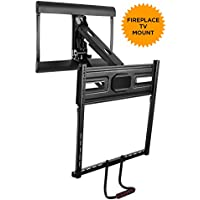 Mount-It! Pull Down TV Mount For Fireplace Mantel Installation, Height Adjustable Full Motion Design, Fits 43-70 Inch TVs, 77 lbs Capacity